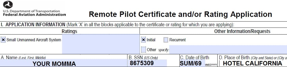 faa form 8710-13 (part 107 remote pilot certificate) -