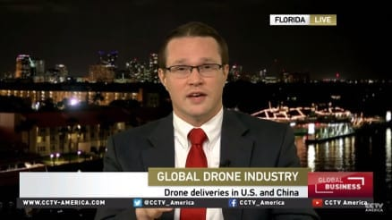 Jonathan being interviewed on tv about drone law
